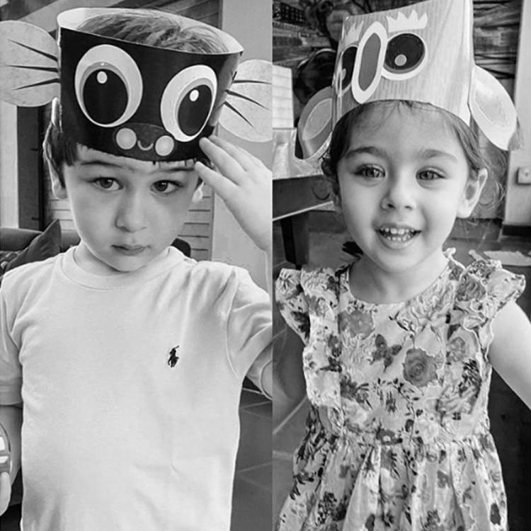 Kareena Kapoor Khan takes the monochrome viral pic challenge up by a notch by sharing Taimur and Inaaya's pics