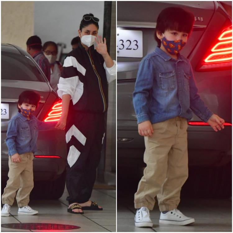 Kareena Kapoor Khan makes a statement in a tracksuit but we have all eyes on Taimur Ali Khan's stylish look