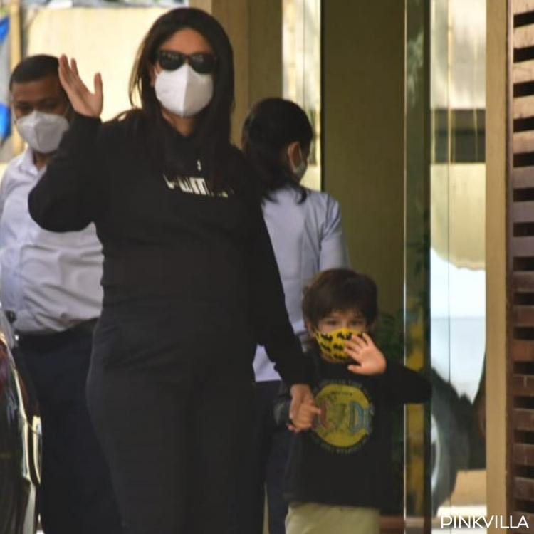 Mom to be Kareena Kapoor Khan rocks all black athleisure for a visit to Karisma's house with Taimur; PHOTOS