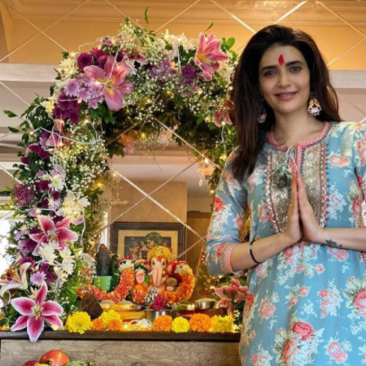 Ganesh Chaturthi: Karishma Tanna welcomes Ganpati Bappa home for first time; Says 'Can't express the feeling'