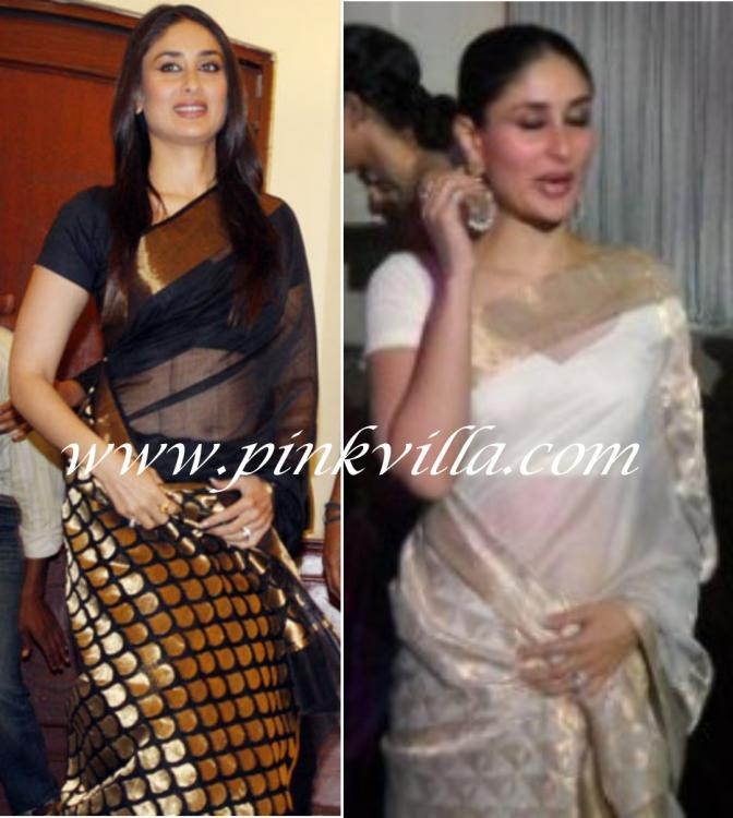 Celebrity Style,kareena kapoor,chanderi,white saree