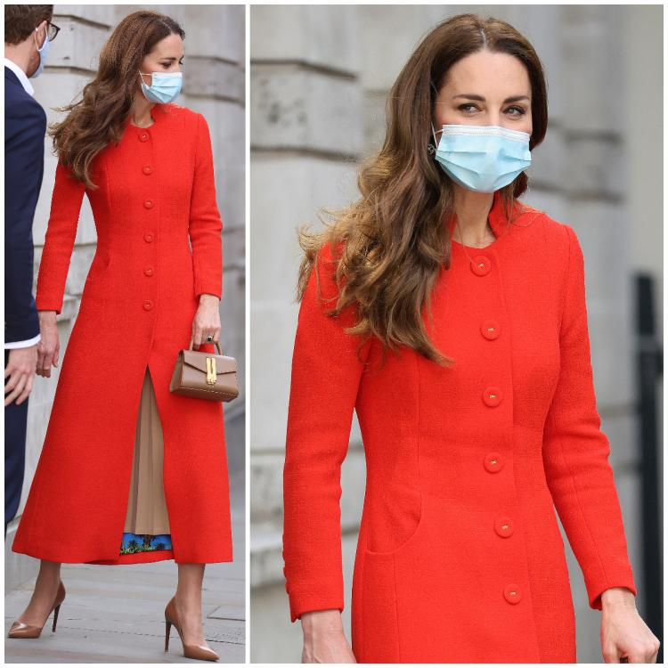 Kate Middleton's topped off her tan look with a red coat