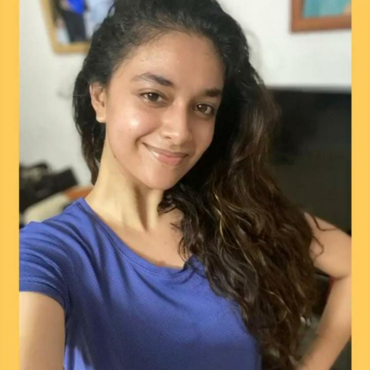 Keerthy Suresh flaunts her post workout glow in the latest photos; Take a look