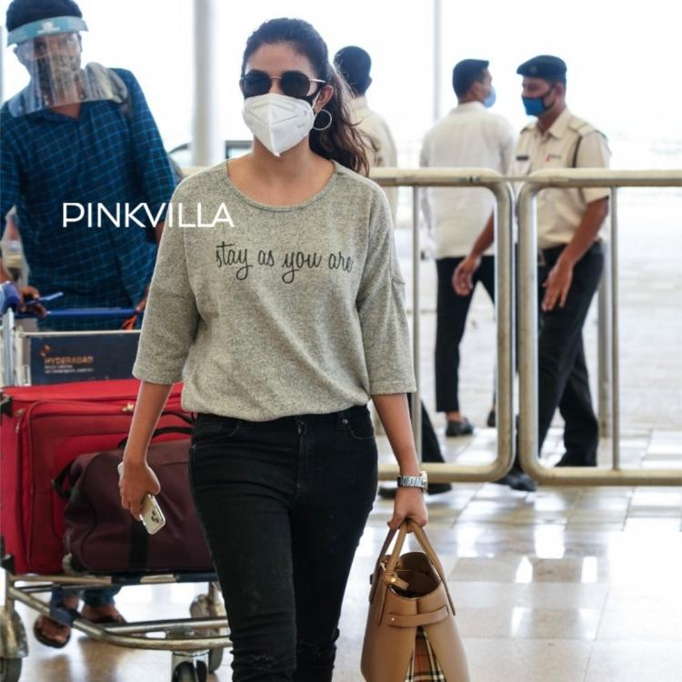 Keerthy Suresh nails the deglam look as she is spotted in Hyderabad airport; See Photos