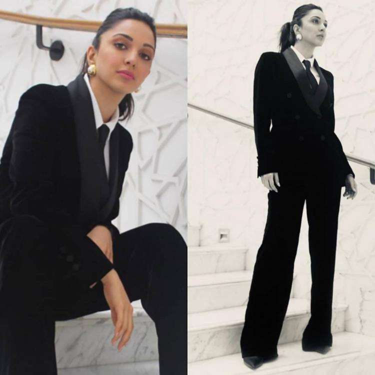 Kiara Advani wears her Massimo Dutti pantsuit with a white button down and black tie & we aren't sure