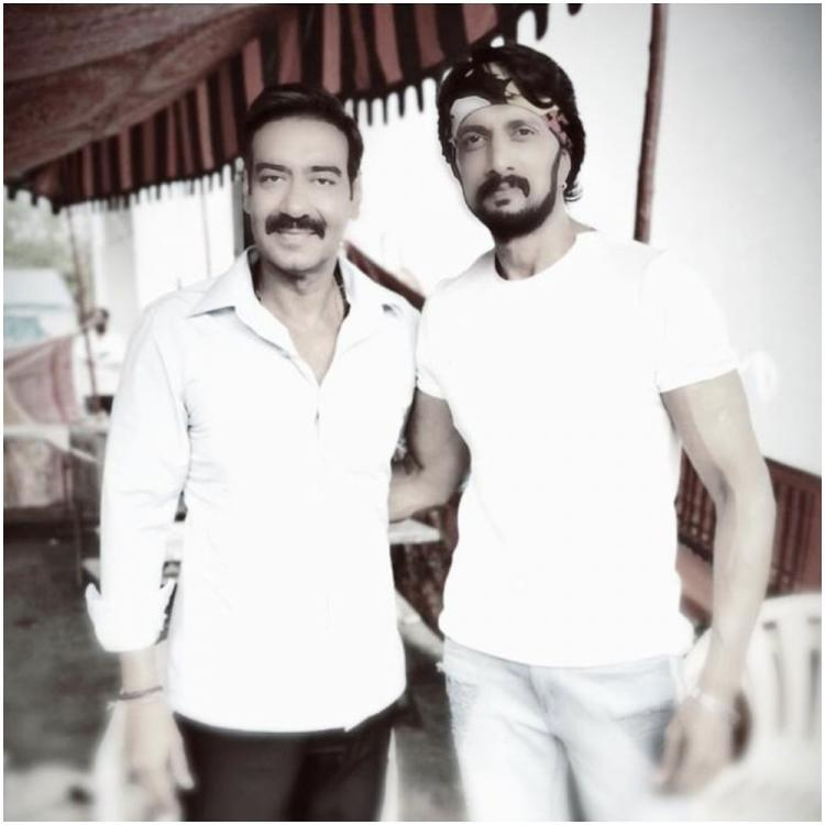 Kiccha Sudeep has a fan boy moment as he shares a picture with Bollywood superstar Ajay Devgn