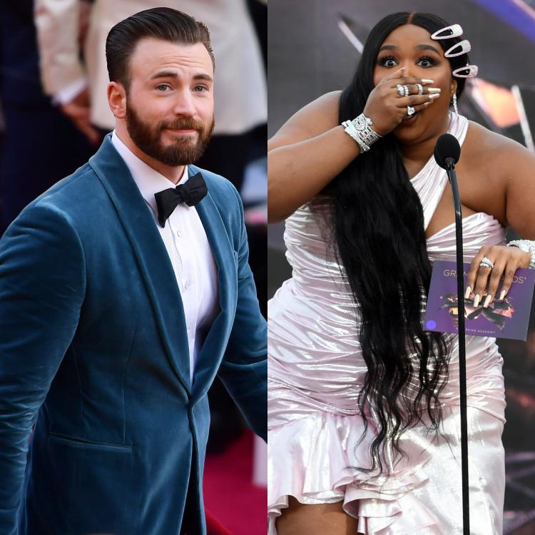 Lizzo DM'ed Chris Evans dashing away, a woman playing handball and a basketball emojis.
