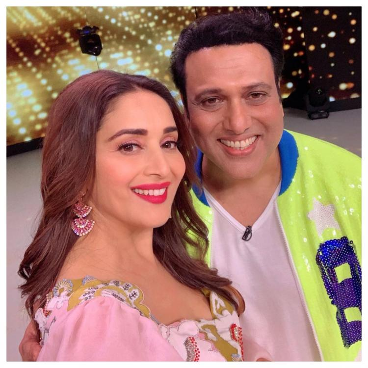 Madhuri Dixit is all smiles as she shares a selfie with Hero No 1 actor Govinda; View Pic