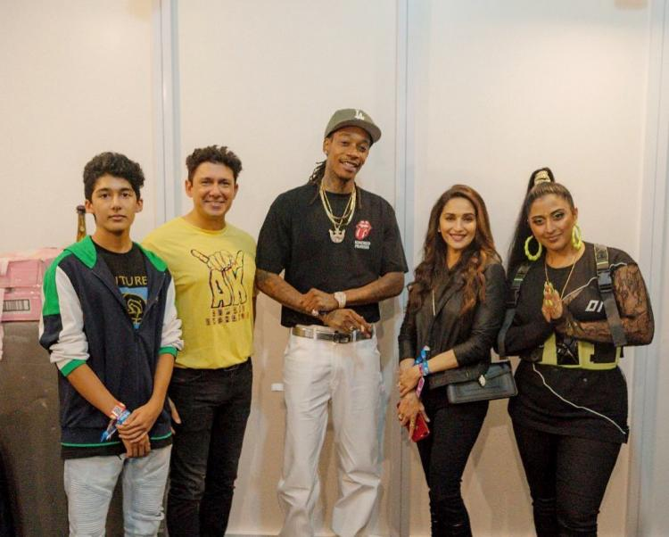 Madhuri Dixit Nene and her family pose with rapper Wiz Khalifa post his concert in Mumbai
