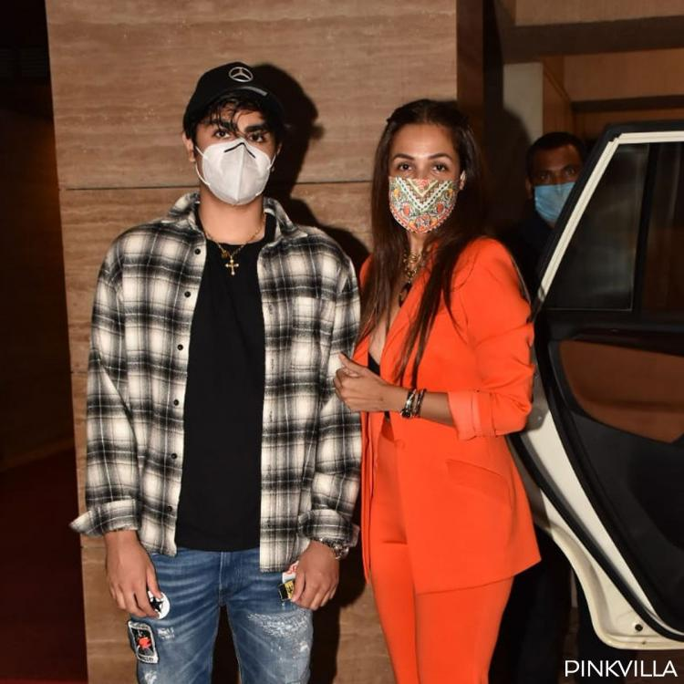 PICS: Malaika Arora dishes out boss lady vibes in orange pantsuit as she poses with son Arhaan on birthday eve