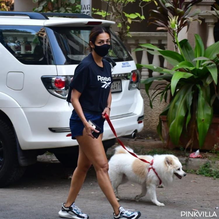 PHOTOS: Malaika Arora begins her morning on a healthy note as she steps out with pet Casper for a stroll