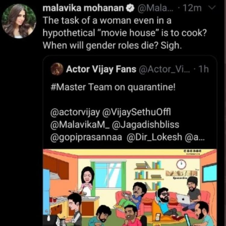 Malavika Mohanan gets trolled for questioning sexist cartoon on Master; Deletes her tweet