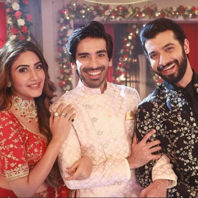 Mohit Sehgal poses with Surbhi Chandna and Sharad Malhotra