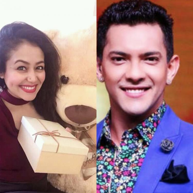 Neha Kakkar poses with a cute soft toy on Teddy Day 2020 and we wonder if was gifted by Aditya Narayan