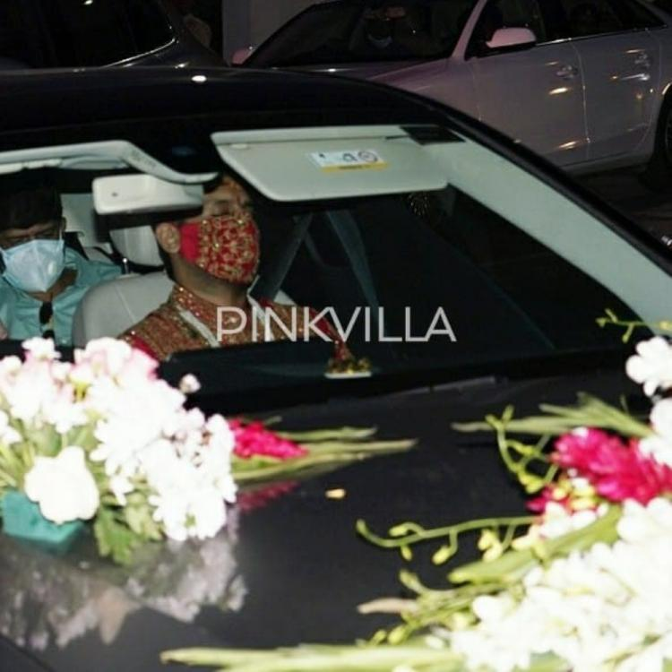 Nithiin & Shalini Wedding: Actor spotted with his family at Falaknuma Palace; Wears red sherwani with a mask