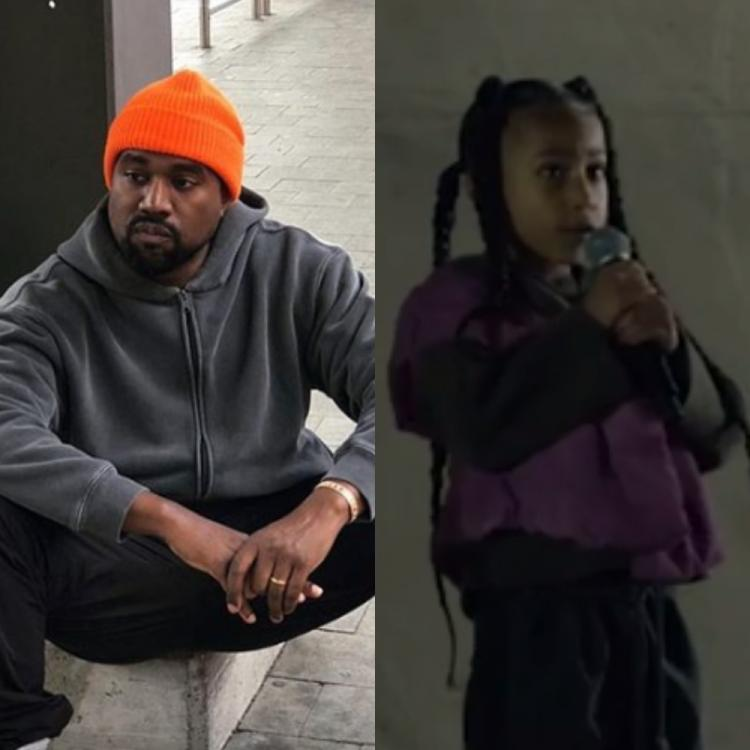 Kanye West's daughter North West shows her rapping skills at a fashion show in Paris