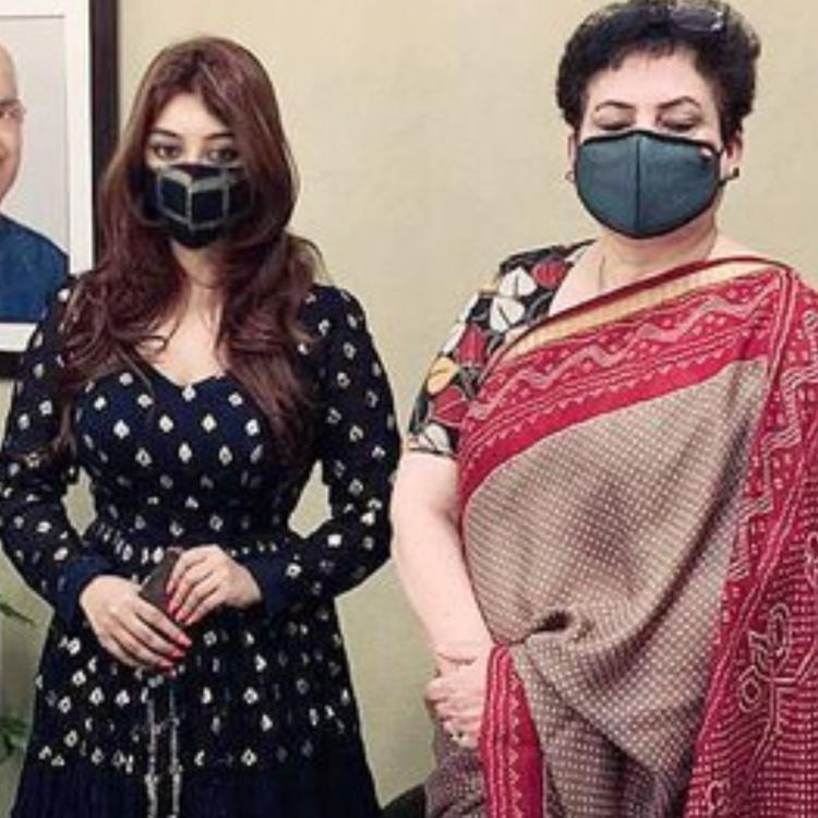 Payal Ghosh meets National Commission for Women Chief in Delhi.