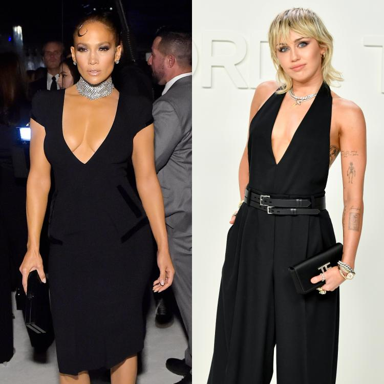 Jennifer Lopez and Miley Cyrus took the plunge at the Tom Ford Autumn/Winter 2020 Show.