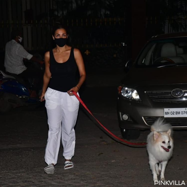 PHOTOS: Malaika Arora opts for a simple monochrome outfit as she goes for a walk with her doggo