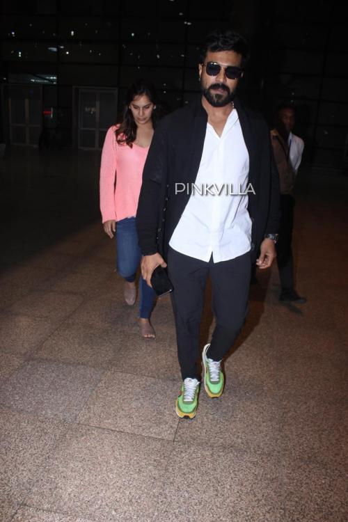 PHOTOS: Ram Charan and wife Upasana get spotted at the Hyderabad airport as they return from Chennai