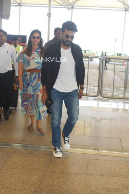 PHOTOS: Ram Charan with wife Upasana spotted at Hyderabad airport