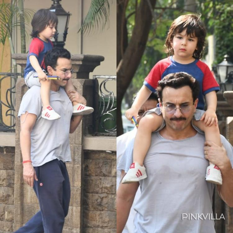 PHOTOS: Saif Ali Khan gives a piggyback ride to baby boy Taimur Ali Khan as they go out for a stroll