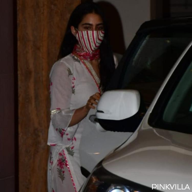 PHOTOS: Sara Ali Khan gets papped in a floral outfit as she visits dad Saif Ali Khan's residence