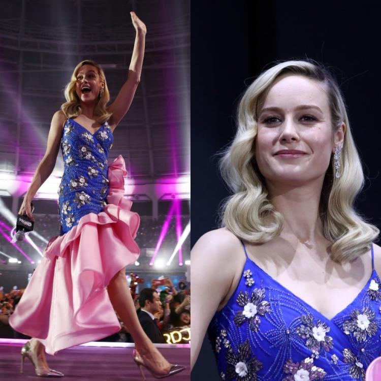 Avengers: Endgame star Brie Larson looked like an absolute glam queen in a ruffled ensemble at a press event
