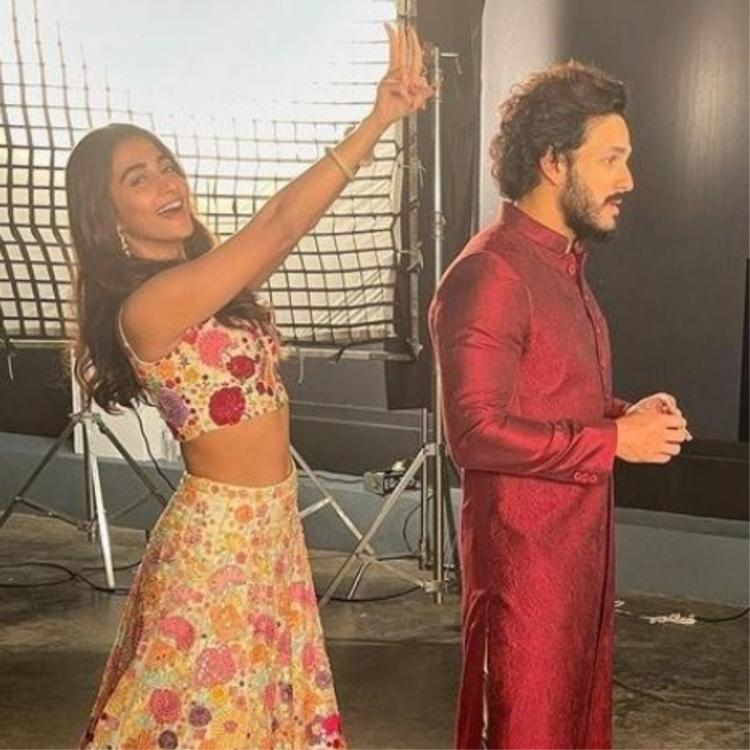 Pooja Hegde goofs around on the sets of Most Eligible Bachelor as Akhil Akkineni tries to concentrate; See PIC