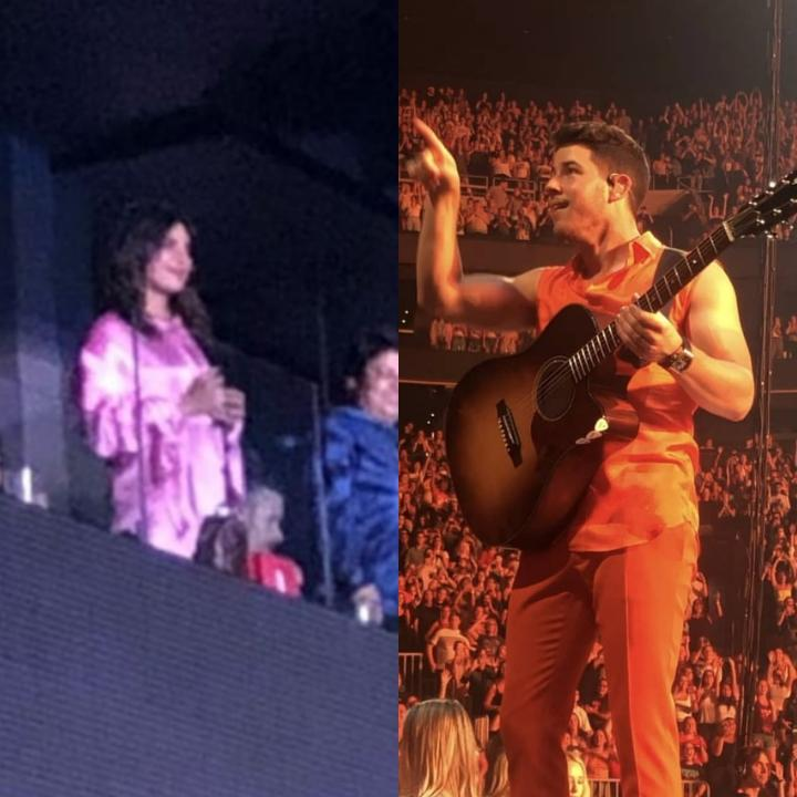 Nick Jonas gestures an 'I love you' to Priyanka Chopra Jonas during the concert and the fans are in awe