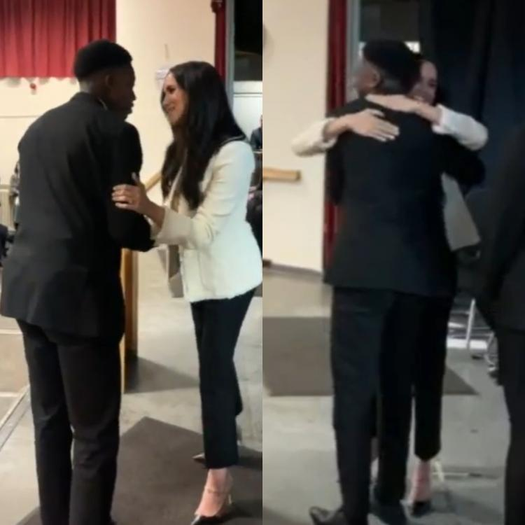 Aker Okoye, a confident schoolboy, left Meghan Markle in a blushing mess after he called her beautiful.