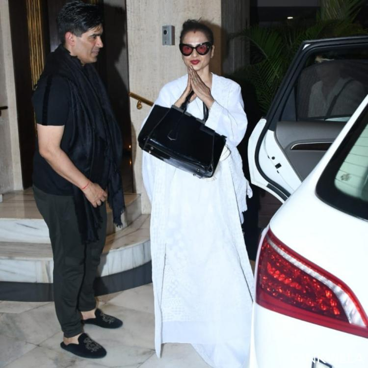 PHOTOS: Rekha pays a visit to Manish Malhotra to offer her condolences