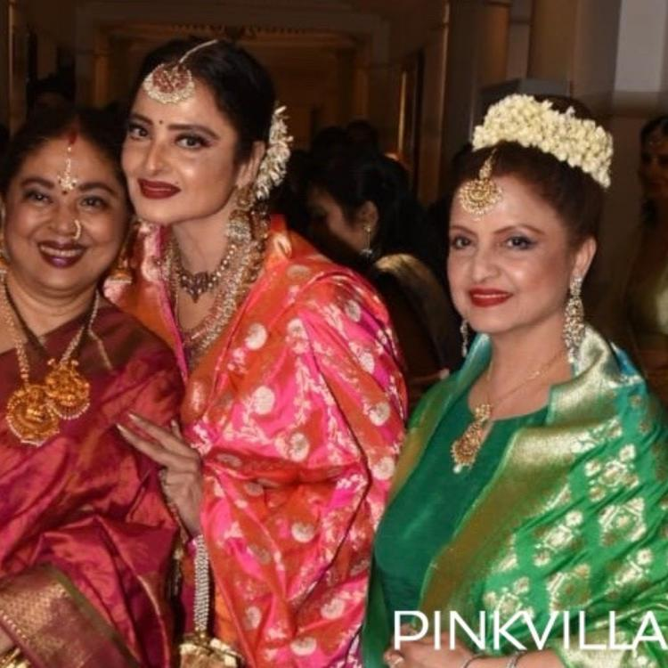 PHOTOS: Rekha & sister Radha make heads turn in their traditional looks at a wedding reception in the city