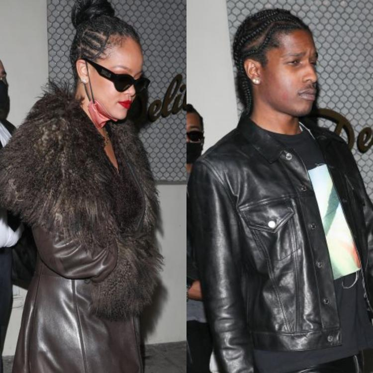 PICS: Rihanna and A$AP Rocky snapped leaving Drake's party; Singer's lipstick stain lands on rapper's cheeks.