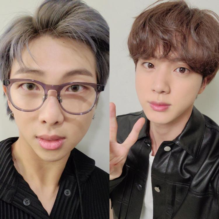 RM and Jin shared handsome selfies on Weverse and Twitter