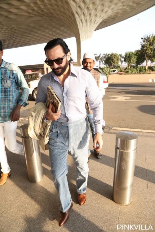 Pics: After celebrating Kareena's dad's birthday, Saif Ali Khan jets off in style as he gets papped at airport