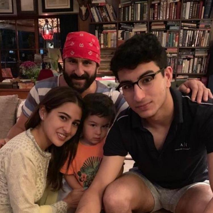 Saif Ali Khan wins the coolest dad award as he sports a red bandana in THIS click with Sara, Ibrahim & Taimur