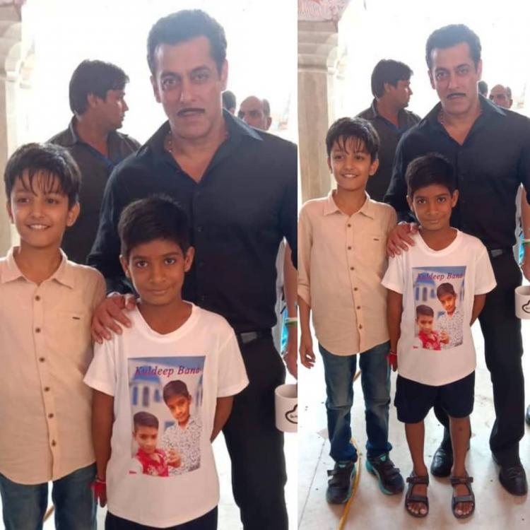 Dabangg 3: Salman Khan flaunts his moustache as he poses with his lil fans while shooting in Rajasthan