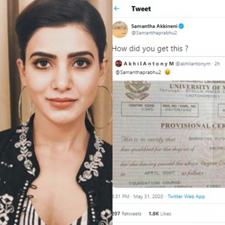 Samantha Akkineni's Bachelor's degree in Commerce LEAKED by a fan; Actress is shocked