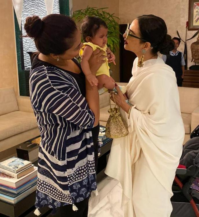 Sameera Reddy's kids meet Rekha; says 'Nyra was super cranky still she was so sweet with her'
