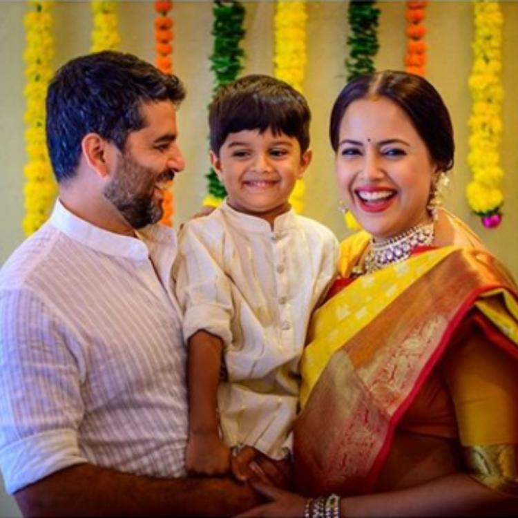 Sameera Reddy celebrates her baby shower while flaunting a traditional yellow saree; View PIC