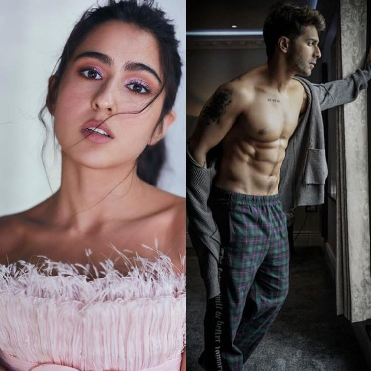 Sara Ali Khan left a fiery comment on Varun Dhawan's photo as the actor flashed his washboard abs i