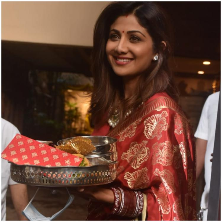 Shilpa Shetty decks up for Karwa Chauth in a gorgeous red silk saree and it's perfect for the occasion