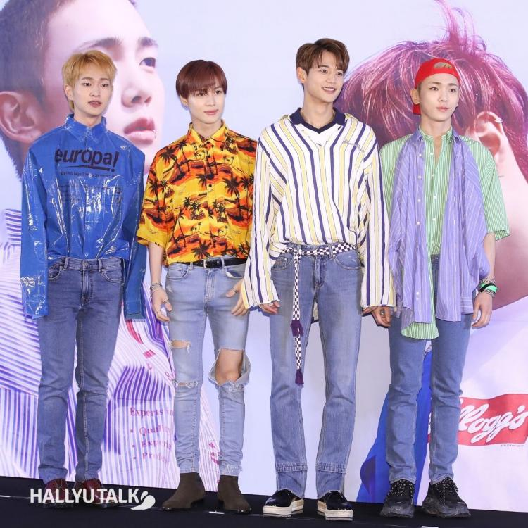 SHINee members promoting the release of their album The Story of Light in 2017