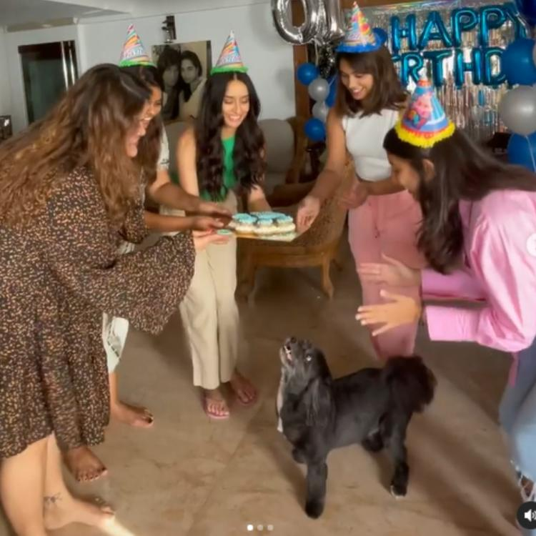 Shraddha Kapoor throws the cutest 10th birthday bash for pet Shyloh with balloons and a PAWsome cake; WATCH