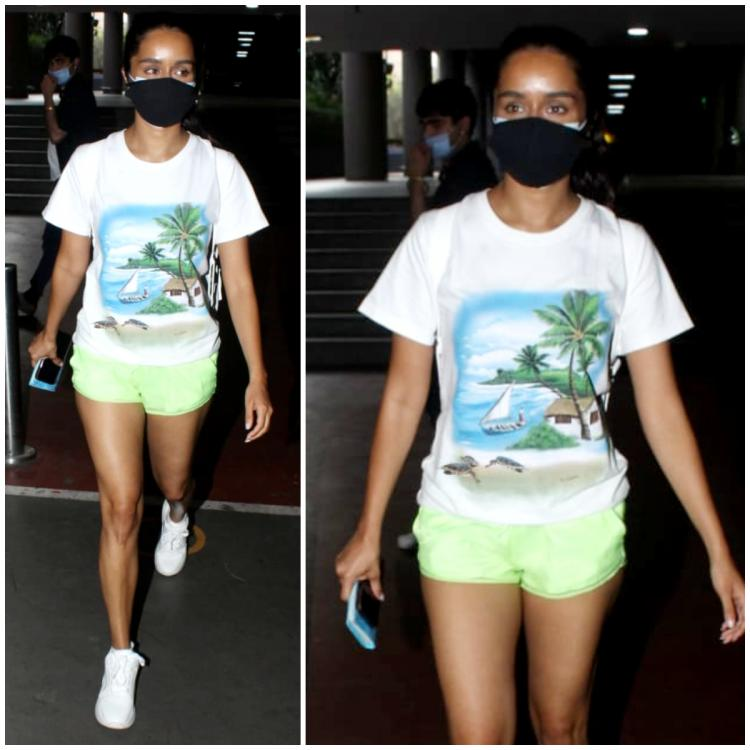 Shraddha Kapoor flaunts her tan & does airport style right in lime green shorts and a tropical tee: Yay or Nay?