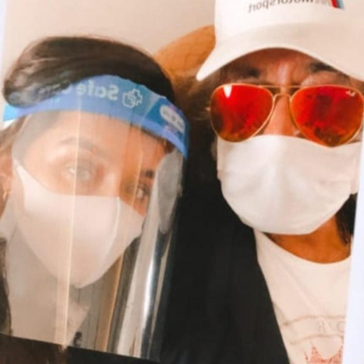 Shraddha Kapoor drops a selfie in a mask & face shield with her 'baapu' Shakti Kapoor as they jet off together
