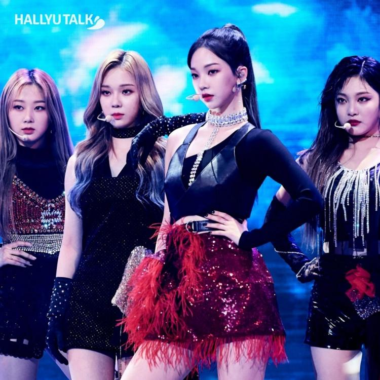 Rookie girl group aespa giving an intense performance at the MBC Song Festival 2020