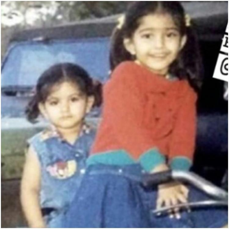 Sonam Kapoor taking sister Rhea Kapoor on a cycle ride in a cute childhood photo leaves Anand Ahuja in awe