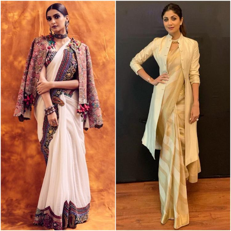 Sonam K Ahuja, Shilpa Shetty & more celeb approved ways to style a  statement jacket with a saree this winter | PINKVILLA
